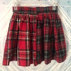 Asymmetrical pattern plaid skirt